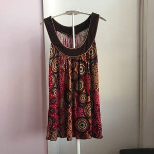 BCX Multicolored Printed Sleeveless Top